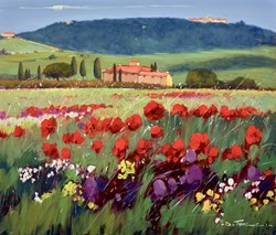 Fiore Viola e Rosso I by Bruno Tinucci -  sized 28x24 inches. Available from Whitewall Galleries